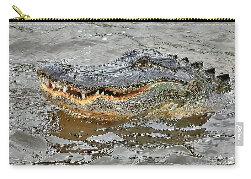Gator Carry-all Pouch featuring the photograph Grinning Gator by Carol Groenen