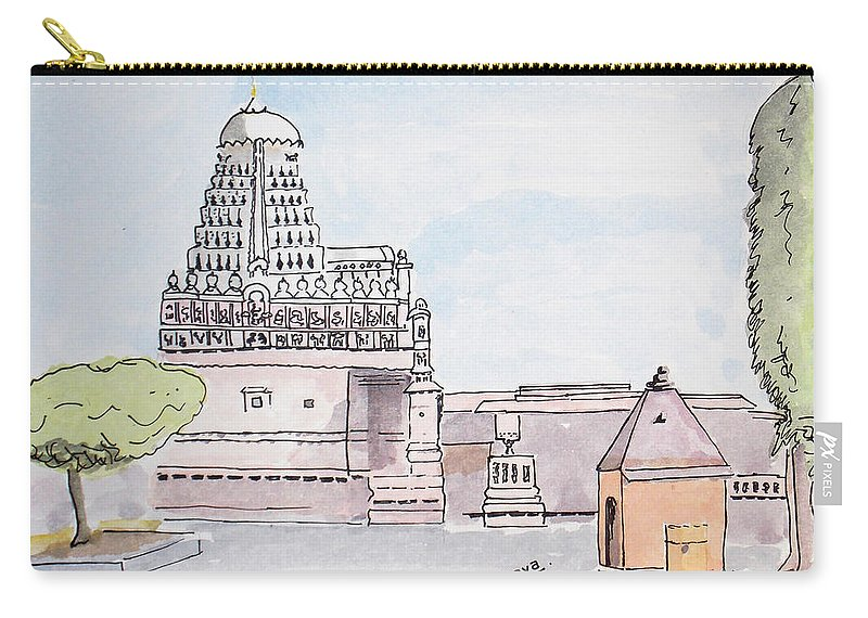 Daulatabad Carry-all Pouch featuring the painting Grishneshwar Jyotirling by Keshava Shukla