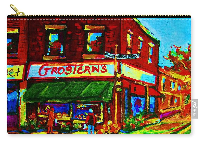 Grosterns Carry-all Pouch featuring the painting Grosterns Market by Carole Spandau