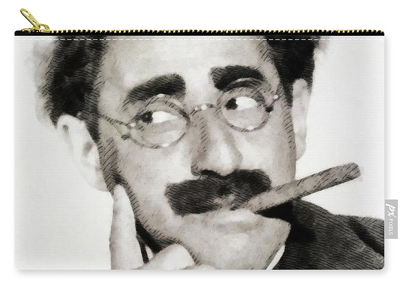 Groucho Carry-all Pouch featuring the painting Groucho Marx, Vintage Comedy Actor by John Springfield