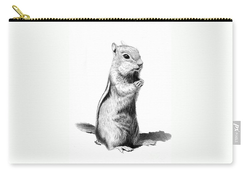 Ground Squirrel Carry-all Pouch featuring the drawing Ground Squirrel by Lynn Quinn