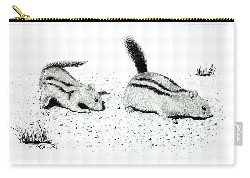 Ground Squirrels Carry-all Pouch featuring the drawing Ground Squirrels by Lynn Quinn