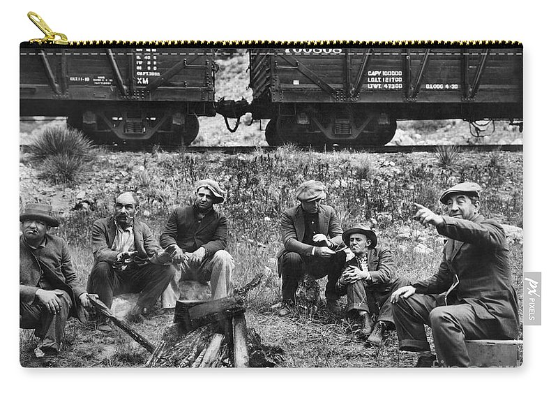 1920s Carry-all Pouch featuring the photograph Group Of Hoboes, 1920s by Granger