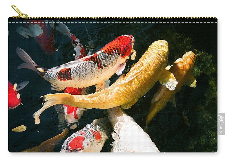 Fish Carry-all Pouch featuring the photograph Group of Koi Fish by Dean Triolo
