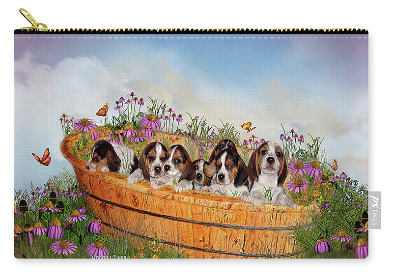 Beagle Puppies Carry-all Pouch featuring the mixed media Growing Puppies by Carol Cavalaris