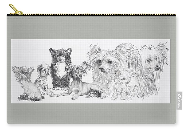 Toy Group Carry-all Pouch featuring the drawing Growing Up Chinese Crested And Powderpuff by Barbara Keith