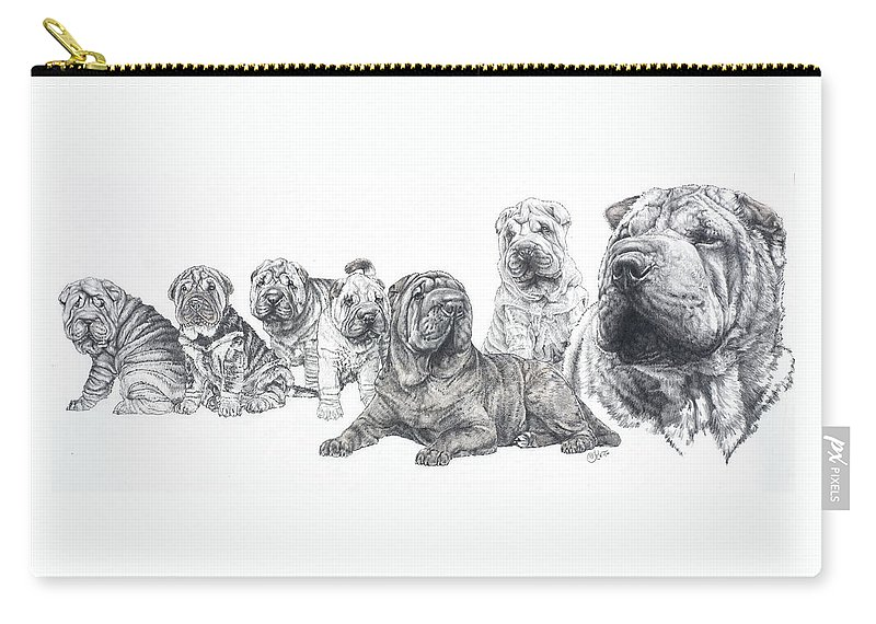 Dog Carry-all Pouch featuring the drawing Growing Up Chinese Shar-pei by Barbara Keith