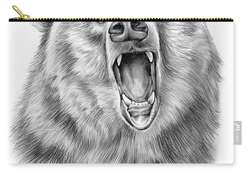 Bear Carry-all Pouch featuring the drawing Growling Bear by Greg Joens