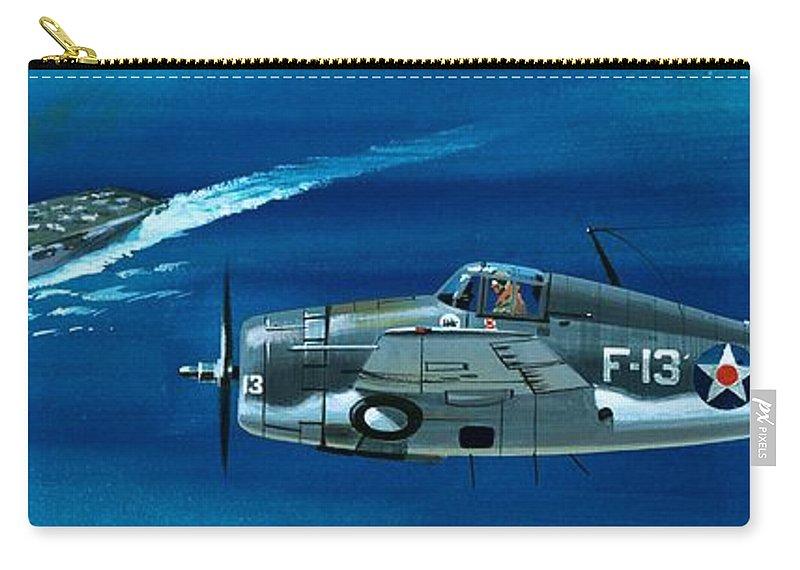 Aircraft; Aeroplane; Plane; Flying; Grumman F4rf-3 Wildcat; Grumman F6f-3 Hellcat; Chance Vought F4u-1a Corsair Carry-all Pouch featuring the painting Grumman F4rf-3 Wildcat by Wilf Hardy