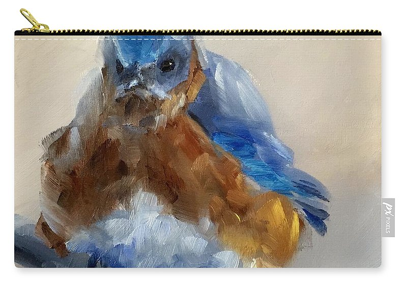 Bird Carry-all Pouch featuring the painting Grumpy Bird by Gary Bruton