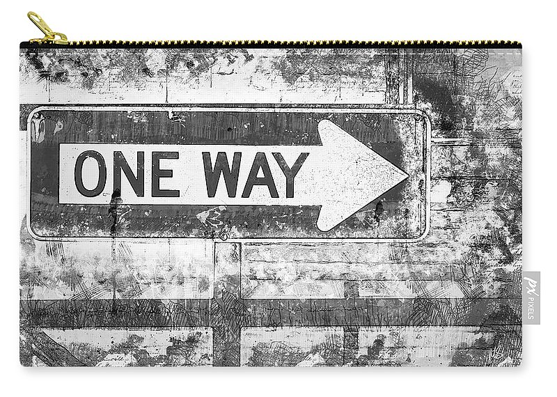 Melissa Smith Carry-all Pouch featuring the mixed media Grunge One Way by Melissa Smith