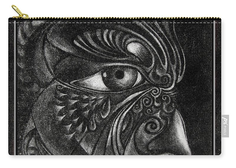 Mezzotint Carry-all Pouch featuring the drawing Guardian Cherub by Otto Rapp
