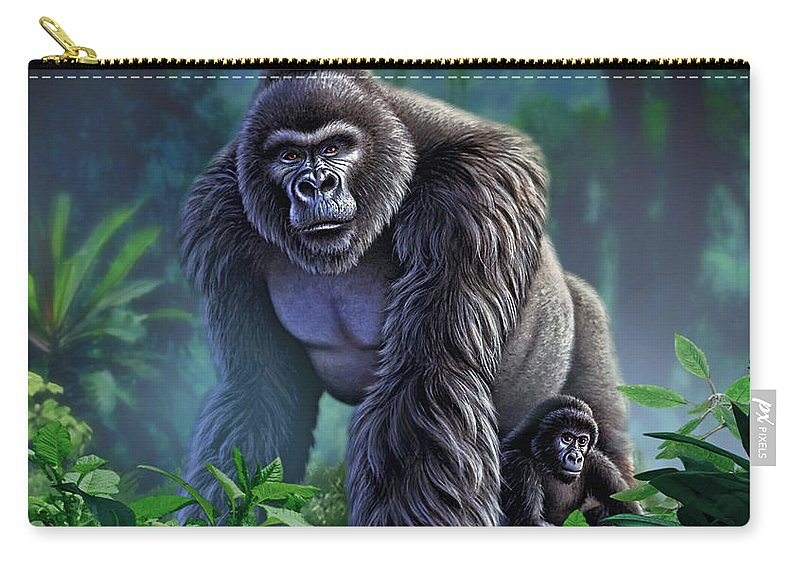 Gorilla Carry-all Pouch featuring the painting Guardian by Jerry LoFaro