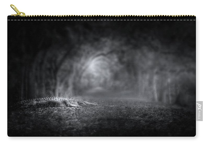 Alligator Carry-all Pouch featuring the photograph Guardian Of The Forest II by Mark Andrew Thomas
