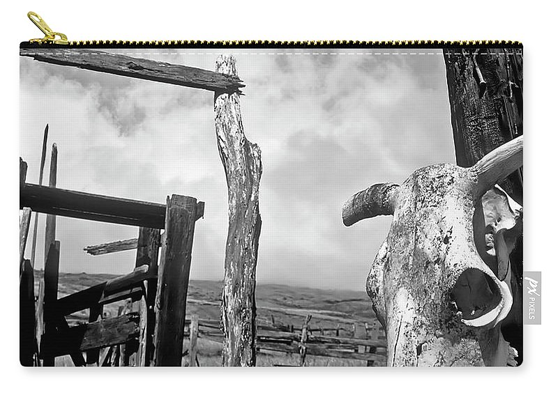 Black And White Carry-all Pouch featuring the photograph Guardian Spirit by Jim Cazel