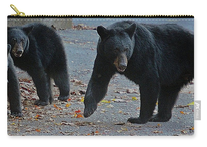 Bears Carry-all Pouch featuring the photograph Guarding Her Cubs by DigiArt Diaries by Vicky B Fuller