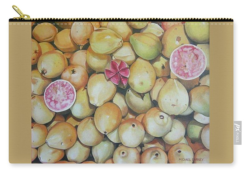 Mexican Produce Carry-all Pouch featuring the painting Guavas - Chapala by Michael Earney