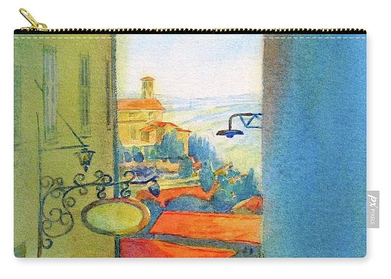 Gubbio Carry-all Pouch featuring the painting Gubbio Down The Hill by Virgil Carter