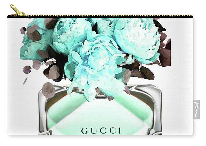 Gucci Carry-all Pouch featuring the mixed media Gucci Blue Perfume by Del Art