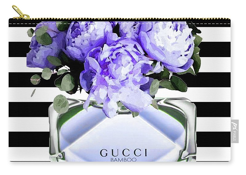 Gucci Carry-all Pouch featuring the mixed media Gucci Perfume Violet by Del Art