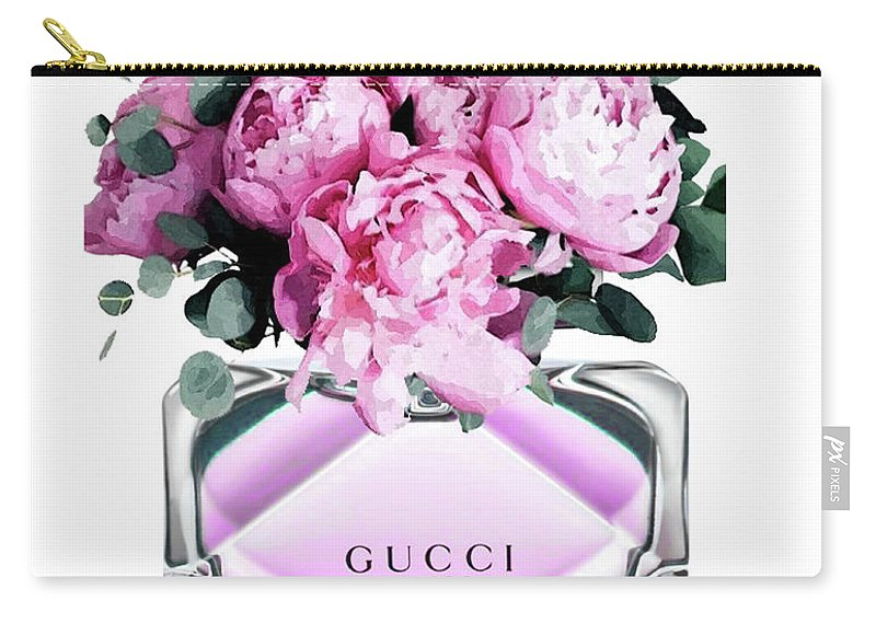Gucci Perfume With Peony Pink Carry All Pouch For Sale By Del Art