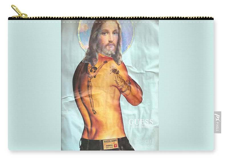 Jesus Carry-all Pouch featuring the mixed media Guess Jesus by Jaime Becker