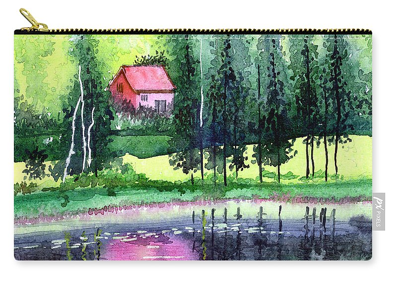 Landscape Carry-all Pouch featuring the painting Guest House by Anil Nene