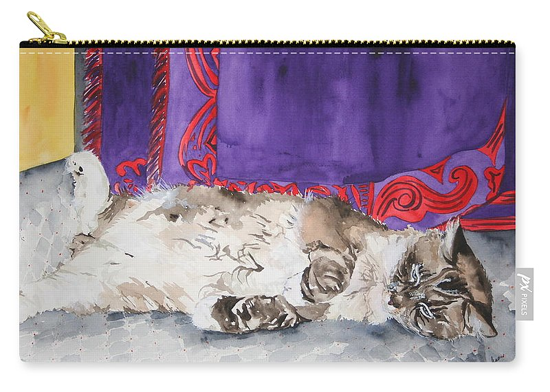Cat Carry-all Pouch featuring the painting Guilley by Jean Blackmer