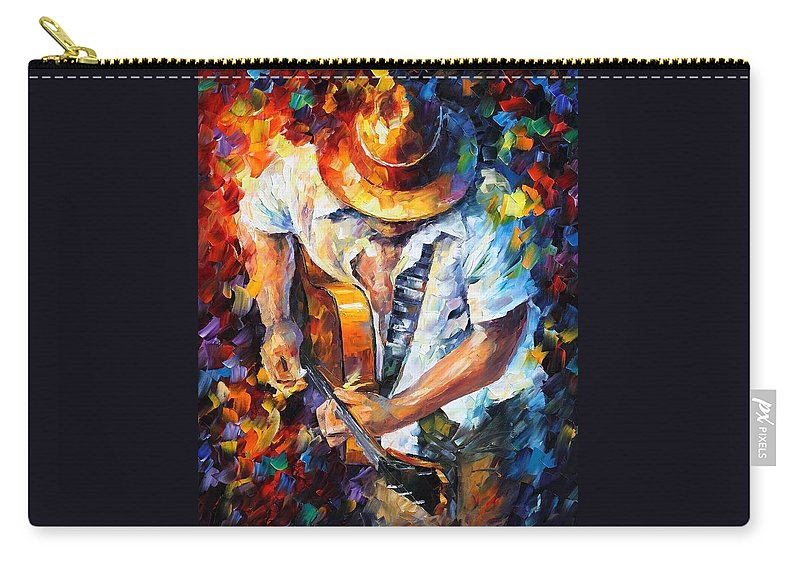 Afremov Carry-all Pouch featuring the painting Guitar And Soul by Leonid Afremov