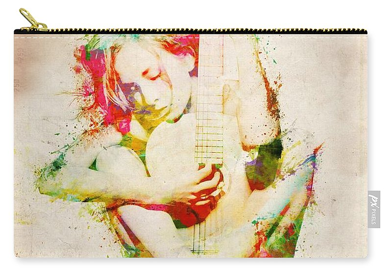 Guitar Carry-all Pouch featuring the digital art Guitar Lovers Embrace by Nikki Smith