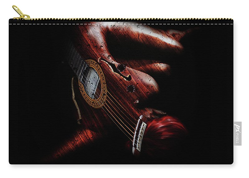 Woman Carry-all Pouch featuring the digital art Guitar Woman by Marian Voicu