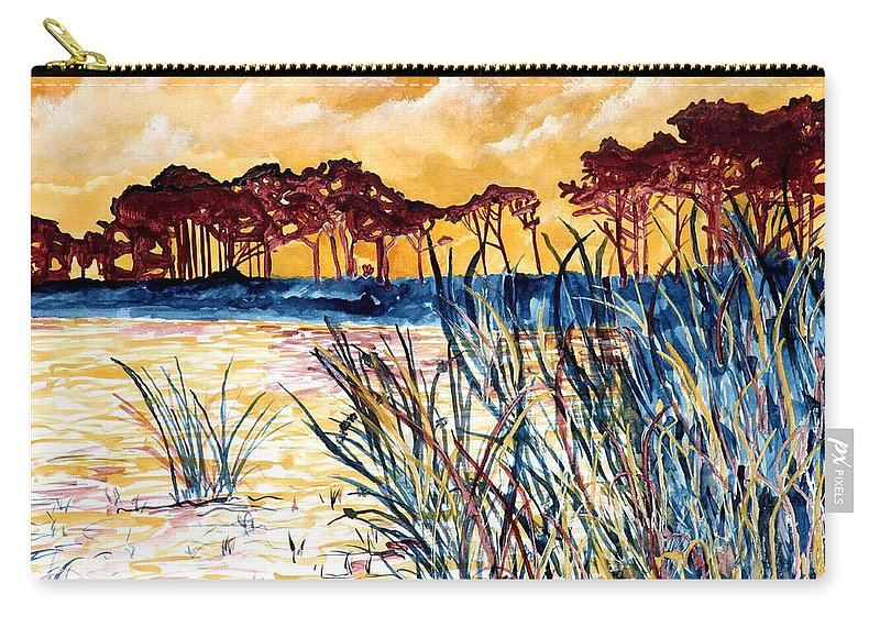Gulf Coast Carry-all Pouch featuring the painting Gulf Coast Seascape Tropical Art Print by Derek Mccrea