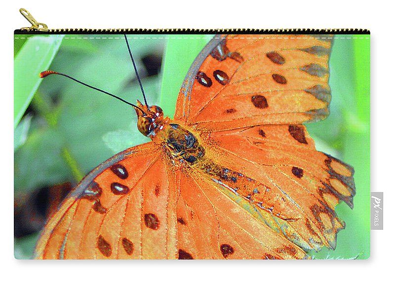 Modern Carry-all Pouch featuring the photograph Gulf Fritillary Butterfly Cropped by Ken Figurski