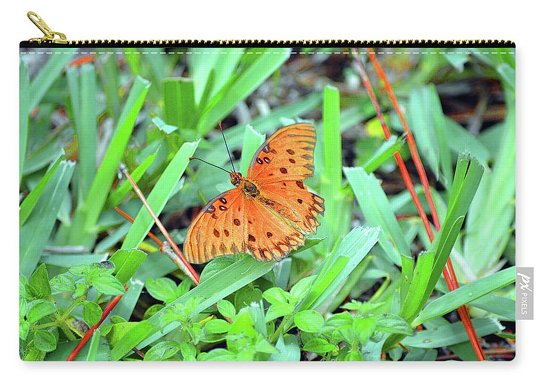 Modern Carry-all Pouch featuring the photograph Gulf Fritillary Butterfly by Ken Figurski
