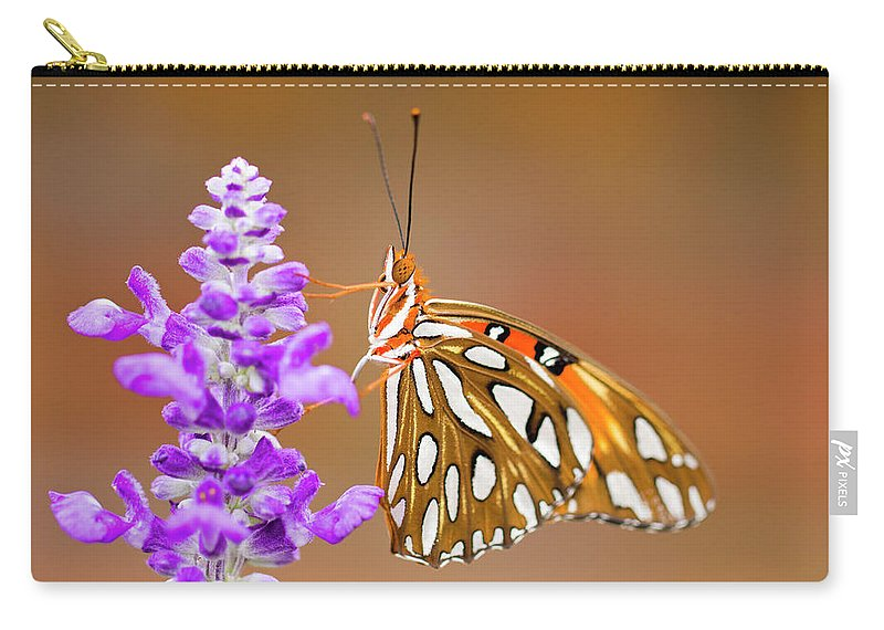 Butterfly Carry-all Pouch featuring the photograph Gulf Fritillary by Shelley Neff
