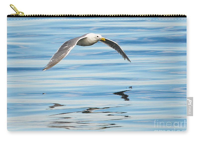 Gull Carry-all Pouch featuring the photograph Gull Mirrored by Mike Dawson