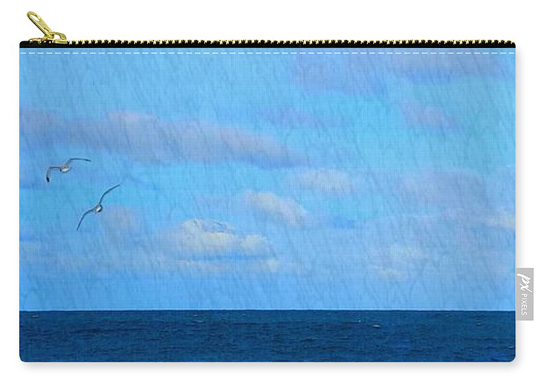 Blue Sky Carry-all Pouch featuring the photograph Gulls And Water by Harriet Harding