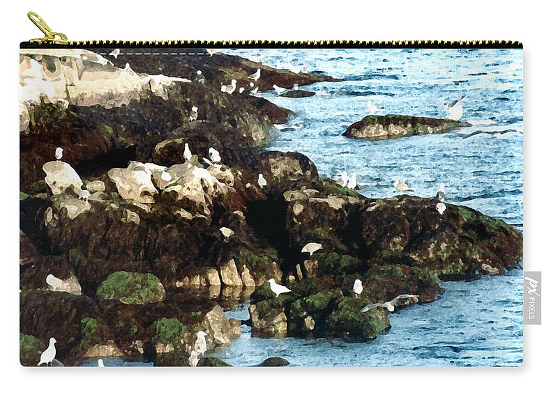 Seagulls Carry-all Pouch featuring the painting Gulls On Rocks by Paul Sachtleben