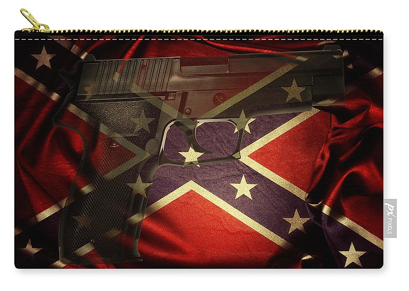 Armed Carry-all Pouch featuring the photograph Gun And Confederate Flag by Les Cunliffe