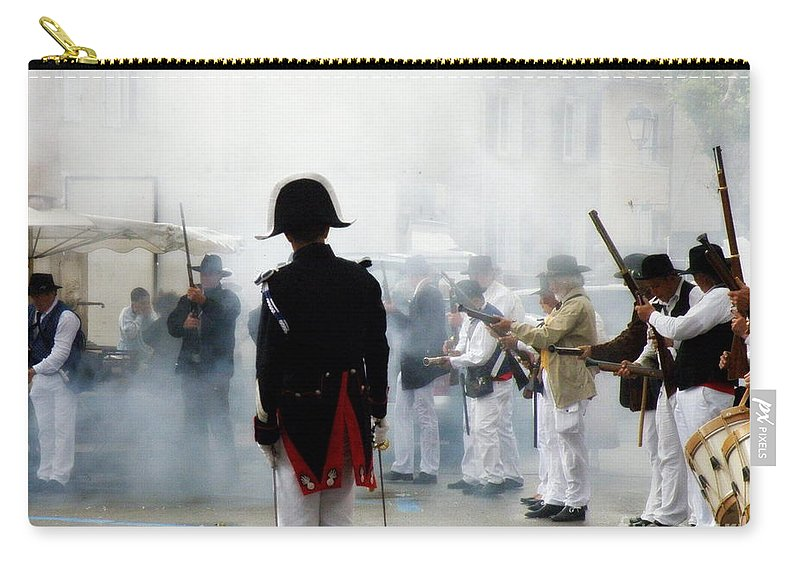 Traditional Carry-all Pouch featuring the photograph Gun Smoke by Lainie Wrightson