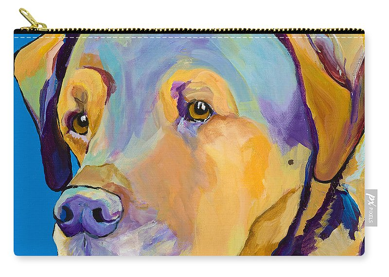 Dog Portrait Carry-all Pouch featuring the painting Gunner by Pat Saunders-White