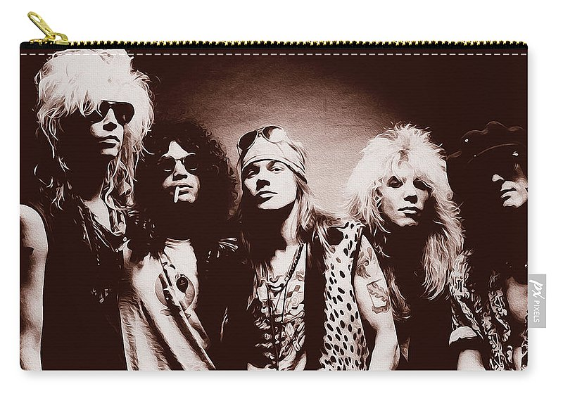 Slash Carry-all Pouch featuring the painting Guns N' Roses - Band Portrait 02 by Andrea Mazzocchetti