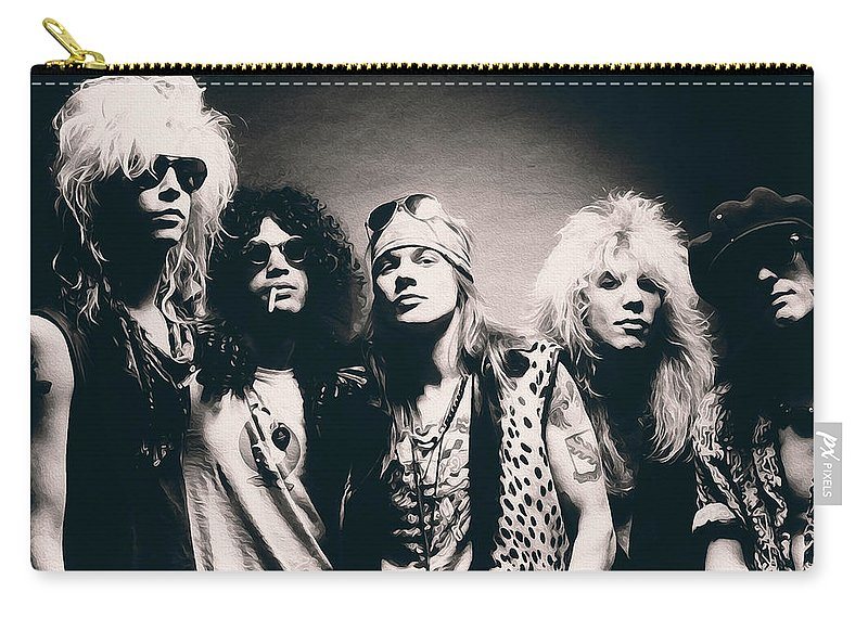 Slash Carry-all Pouch featuring the painting Guns N' Roses - Band Portrait by Andrea Mazzocchetti