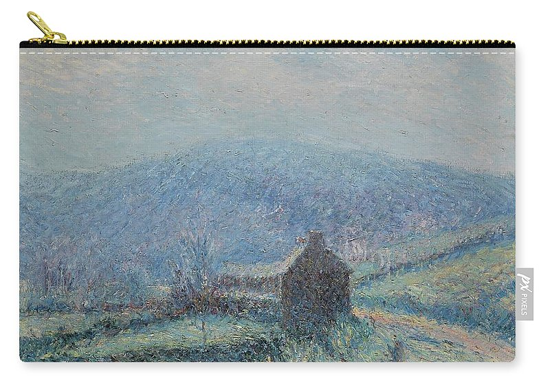 Gustave Loiseau 1865 - 1935 Jelly White Huelgoat Carry-all Pouch featuring the painting Gustave Loiseau 1865 - 1935 Jelly White Huelgoat, Finistere by Adam Asar