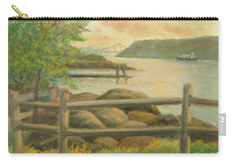 George Washington Bridge Carry-all Pouch featuring the painting GWB from Hastings by Phyllis Tarlow