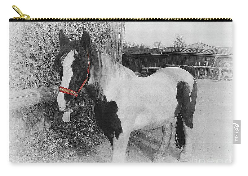 Gypsy Horse Carry-all Pouch featuring the photograph Gypsy Horse by Elisabeth Lucas