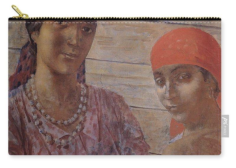 Gypsies Kuzma Petrov-vodkin - 1926-1927 Carry-all Pouch featuring the painting Gypsies Kuzma Petrov-vodkin - 1926-1927 by Adam Asar