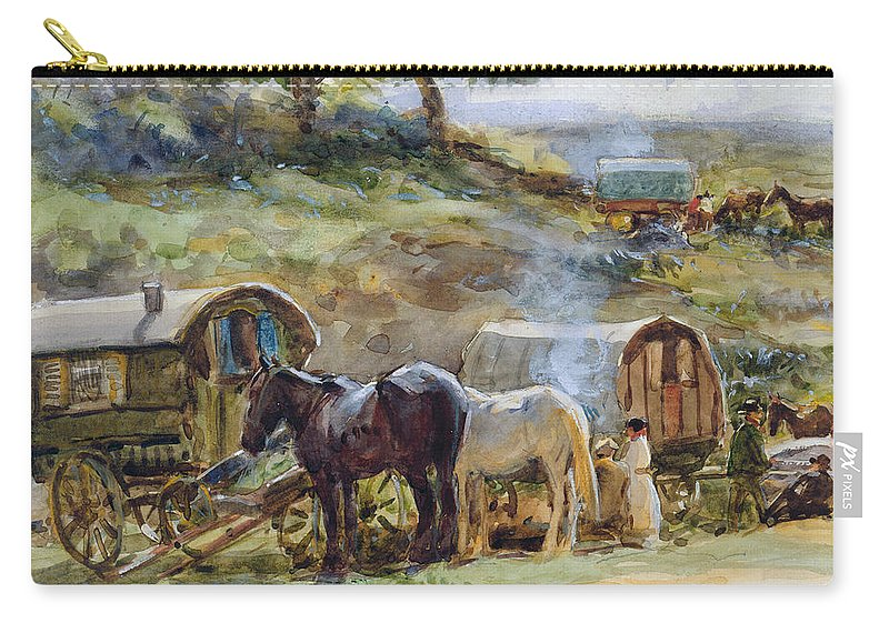 Gypsy Carry-all Pouch featuring the painting Gypsy Encampment by John Atkinson