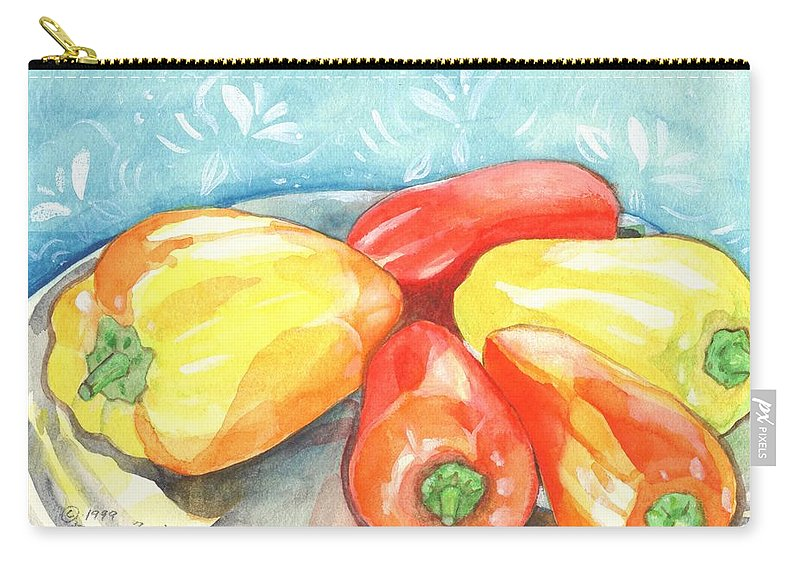 Gypsy Pepper Carry-all Pouch featuring the painting Gypsy Peppers by Helena Tiainen