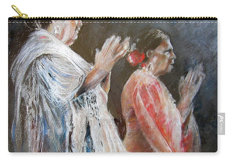 Flamenco Carry-all Pouch featuring the painting Gypsy Women Performing Flamenco by Miki De Goodaboom